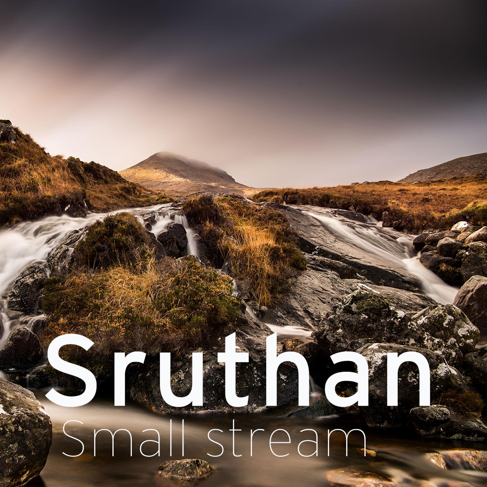 small stream running down a harris hillside