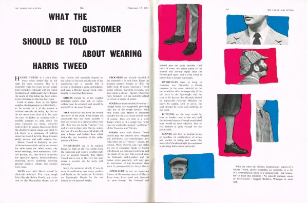Harris Tweed Authority Tailor& Cutter February 1961 Article